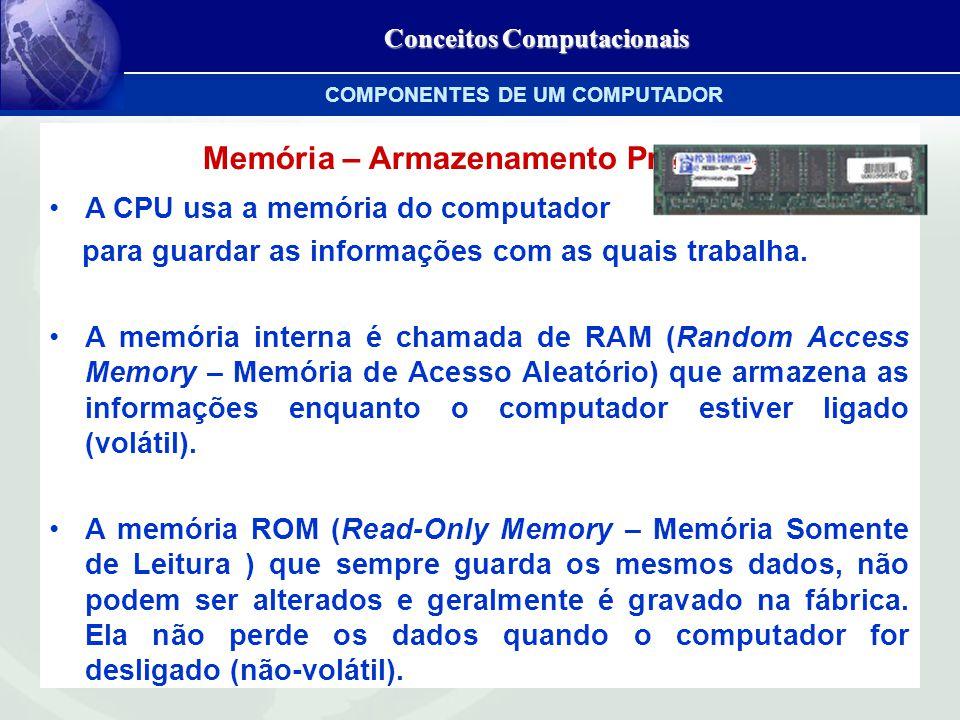 Conceitos Computacionais Memória – Armazenamento Primário A CPU usa a memória do computador para guardar as informações com as quais trabalha.