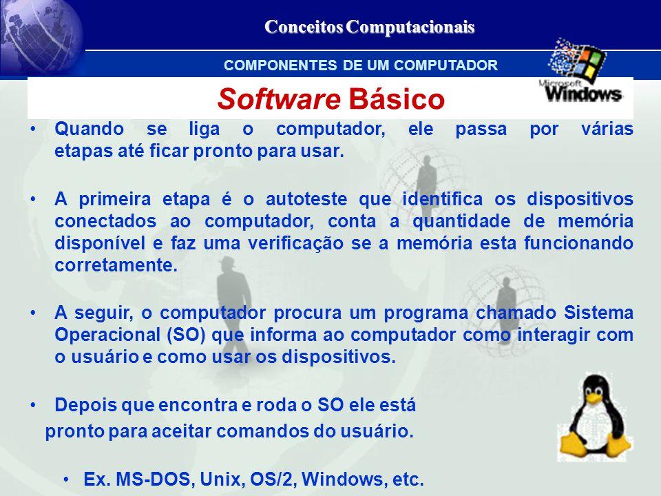 Conceitos Computacionais Software Básico Quando se liga o computador, ele passa por várias etapas até ficar pronto para usar.