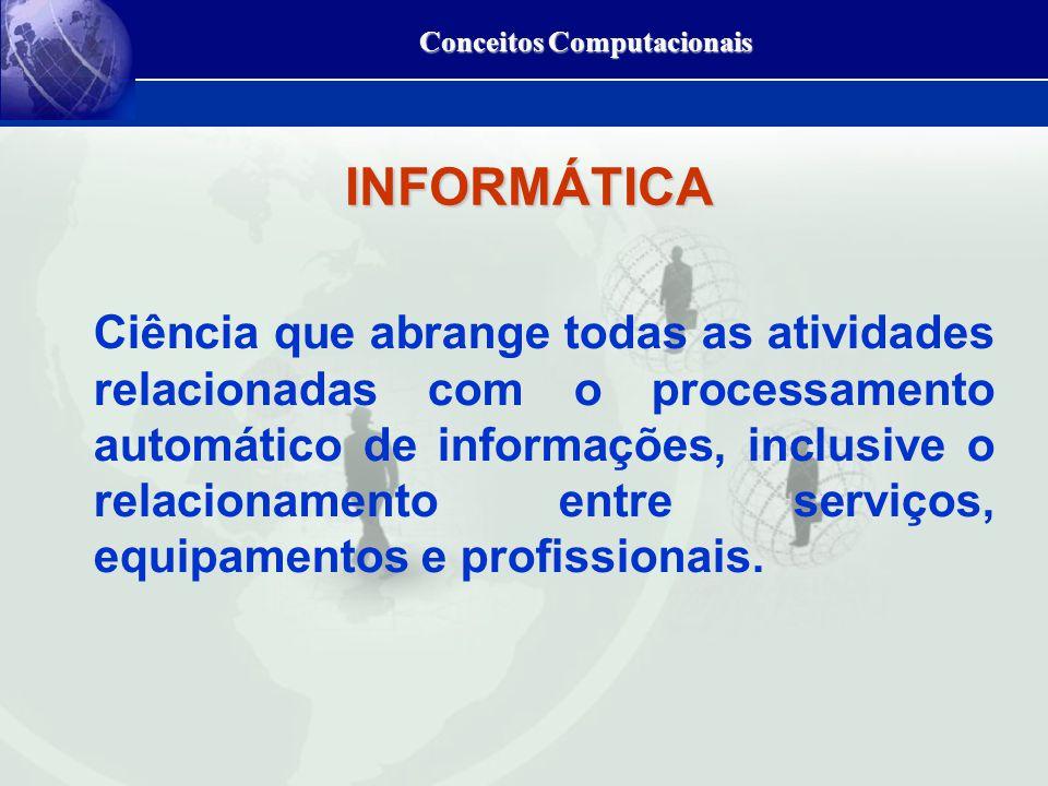 Conceitos Computacionais Ciência que abrange todas as atividades relacionadas com o processamento automático de informações, inclusive o relacionamento entre serviços, equipamentos e profissionais.