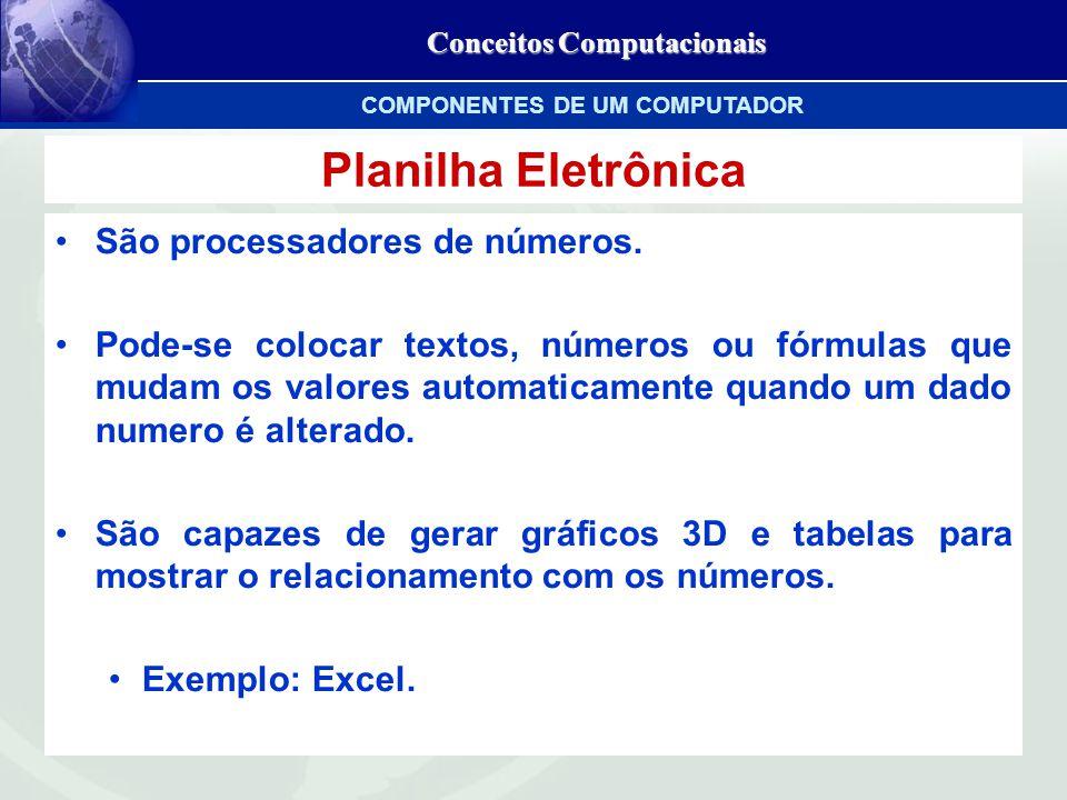 Conceitos Computacionais Planilha Eletrônica São processadores de números.