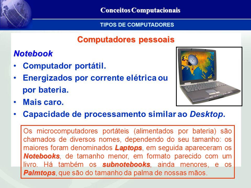 Conceitos Computacionais Computadores pessoais Notebook Computador portátil.