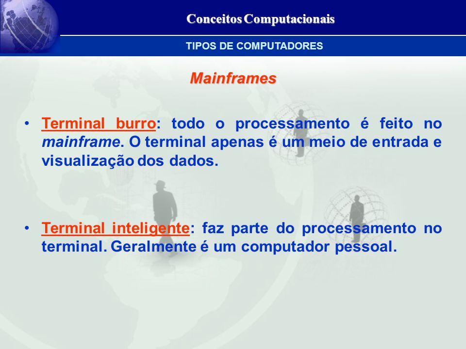 Conceitos Computacionais Mainframes Terminal burro: todo o processamento é feito no mainframe.