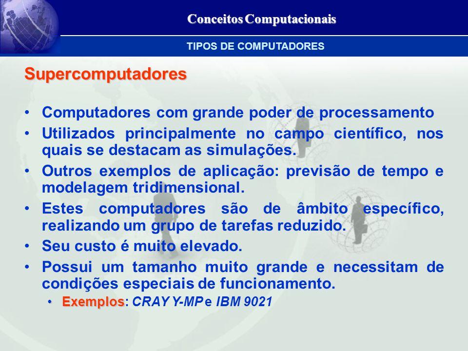 Conceitos Computacionais Supercomputadores Computadores com grande poder de processamento Utilizados principalmente no campo científico, nos quais se destacam as simulações.