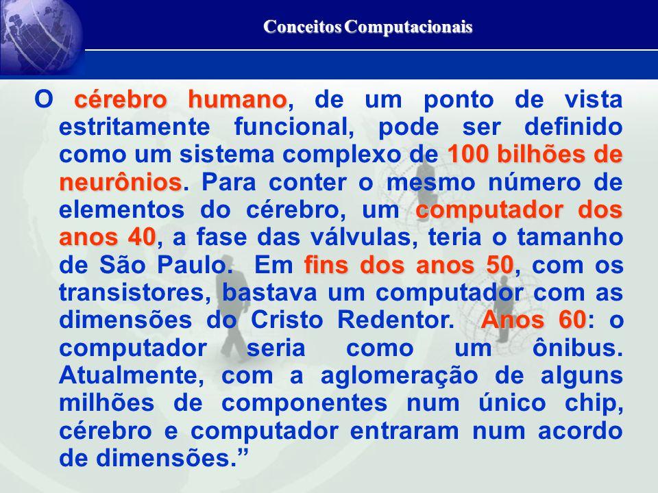 Conceitos Computacionais cérebro humano 100 bilhões de neurônios computador dos anos 40 fins dos anos 50 Anos 60 O cérebro humano, de um ponto de vista estritamente funcional, pode ser definido como um sistema complexo de 100 bilhões de neurônios.
