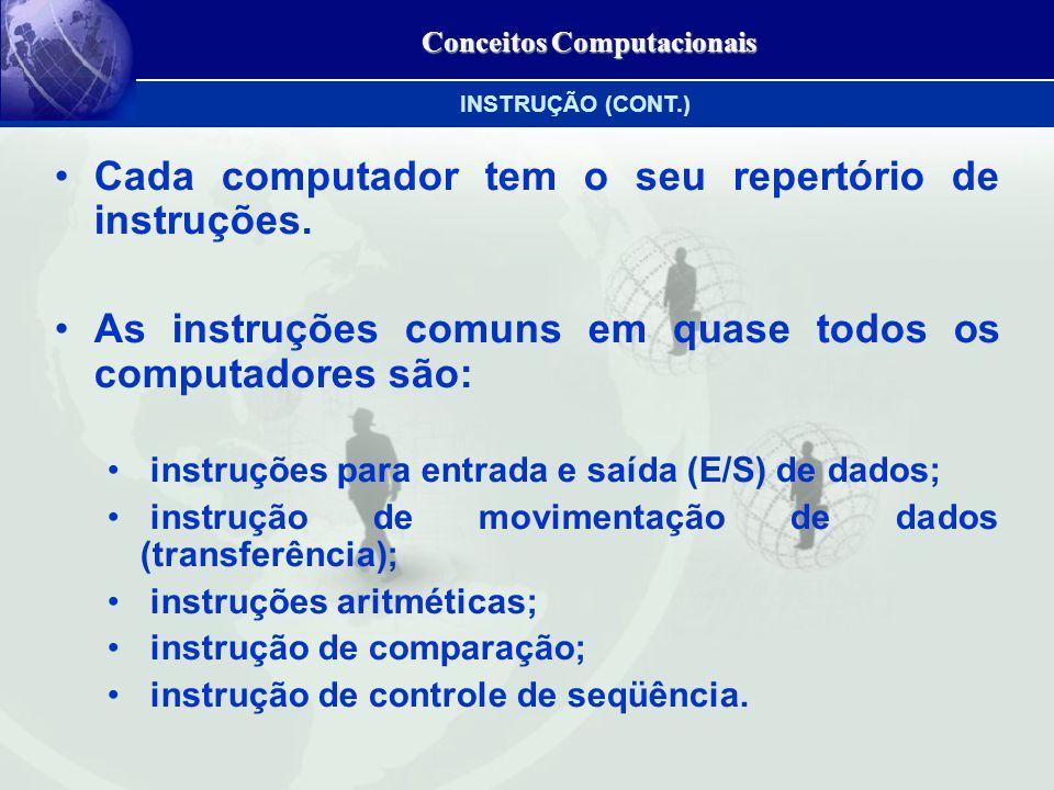 Conceitos Computacionais Cada computador tem o seu repertório de instruções.