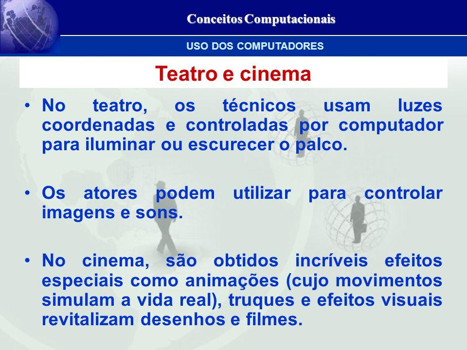 Conceitos Computacionais Teatro e cinema No teatro, os técnicos usam luzes coordenadas e controladas por computador para iluminar ou escurecer o palco.