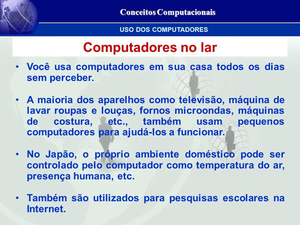 Conceitos Computacionais Computadores no lar Você usa computadores em sua casa todos os dias sem perceber.