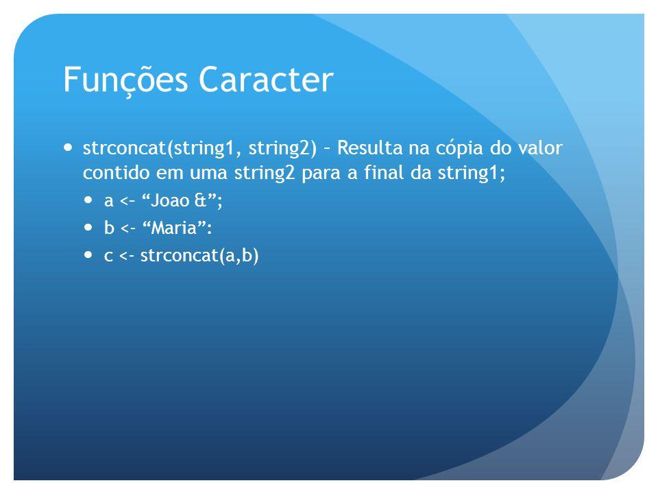Funções Caracter strconcat(string1, string2) – Resulta na cópia do valor contido em uma string2 para a final da string1; a <– Joao &; b <- Maria: c <-