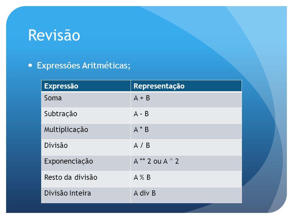 Revisão ExpressãoRepresentação SomaA + B SubtraçãoA – B MultiplicaçãoA * B DivisãoA / B ExponenciaçãoA ** 2 ou A ^ 2 Resto da divisãoA % B Divisão Int
