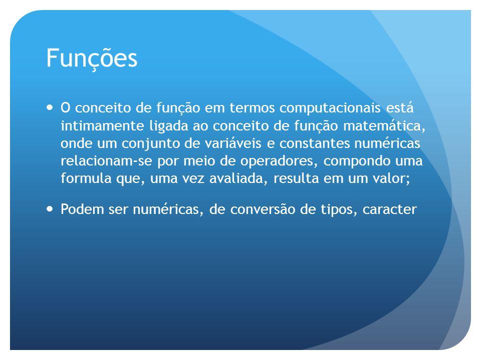 Funções O conceito de função em termos computacionais está intimamente ligada ao conceito de função matemática, onde um conjunto de variáveis e consta