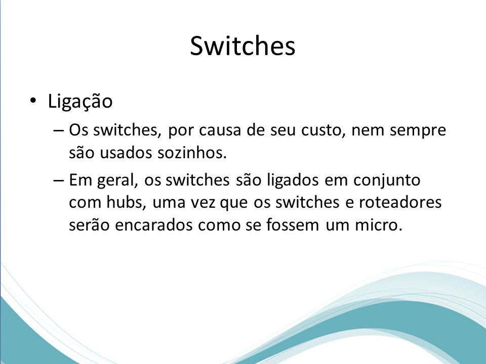 Switches Ligação – Os switches, por causa de seu custo, nem sempre são usados sozinhos. – Em geral, os switches são ligados em conjunto com hubs, uma