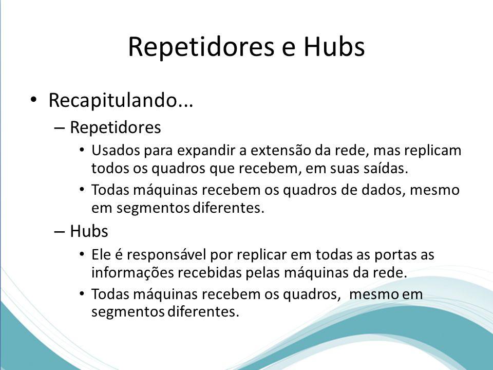 Repetidores e Hubs Recapitulando... – Repetidores Usados para expandir a extensão da rede, mas replicam todos os quadros que recebem, em suas saídas.