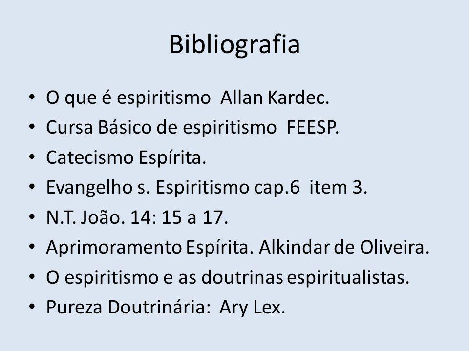 Bibliografia O que é espiritismo Allan Kardec. Cursa Básico de espiritismo FEESP. Catecismo Espírita. Evangelho s. Espiritismo cap.6 item 3. N.T. João
