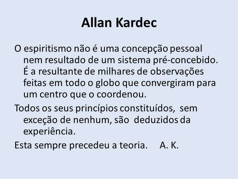 Allan Kardec O espiritismo não é uma concepção pessoal nem resultado de um sistema pré-concebido. É a resultante de milhares de observações feitas em
