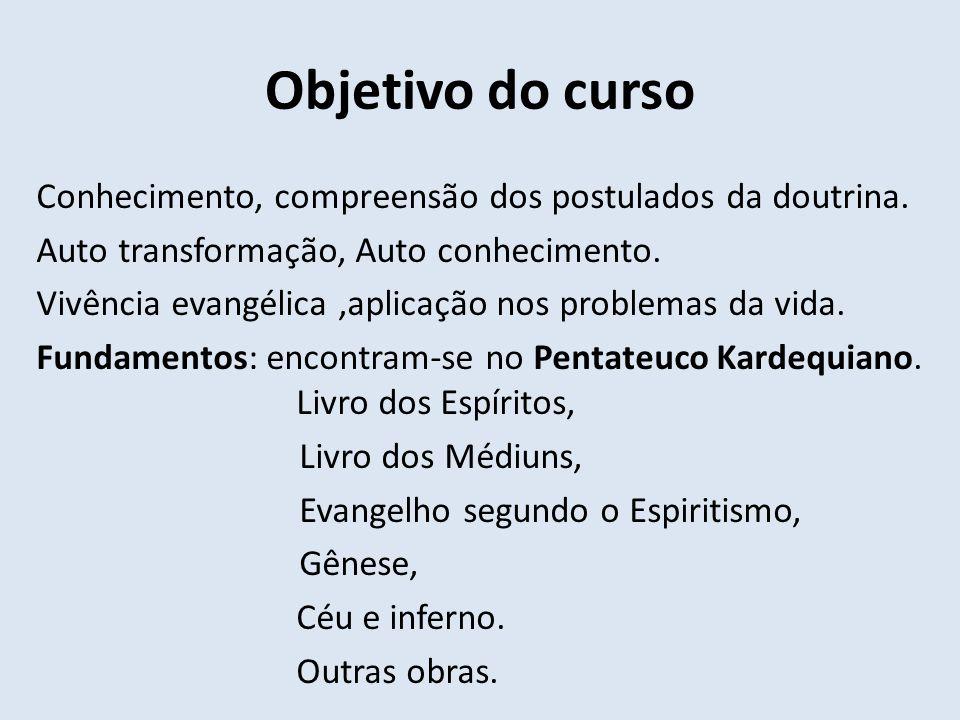Objetivo do curso Conhecimento, compreensão dos postulados da doutrina. Auto transformação, Auto conhecimento. Vivência evangélica,aplicação nos probl