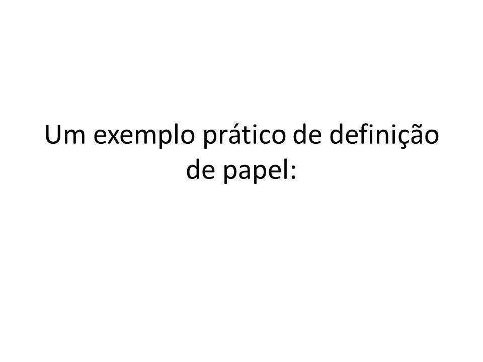 Um exemplo prático de definição de papel: