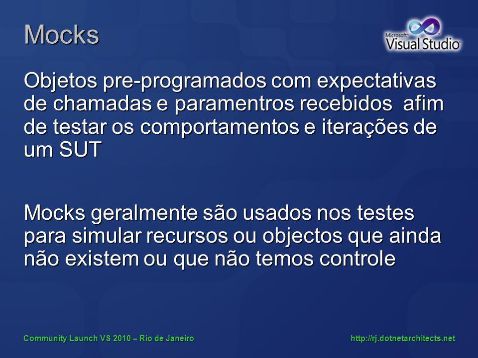 Community Launch VS 2010 – Rio de Janeiro http://rj.dotnetarchitects.net Mocks Objetos pre-programados com expectativas de chamadas e paramentros rece