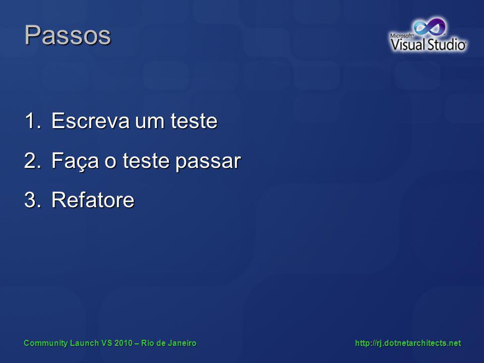 Community Launch VS 2010 – Rio de Janeiro http://rj.dotnetarchitects.net Passos 1.Escreva um teste 2.Faça o teste passar 3.Refatore