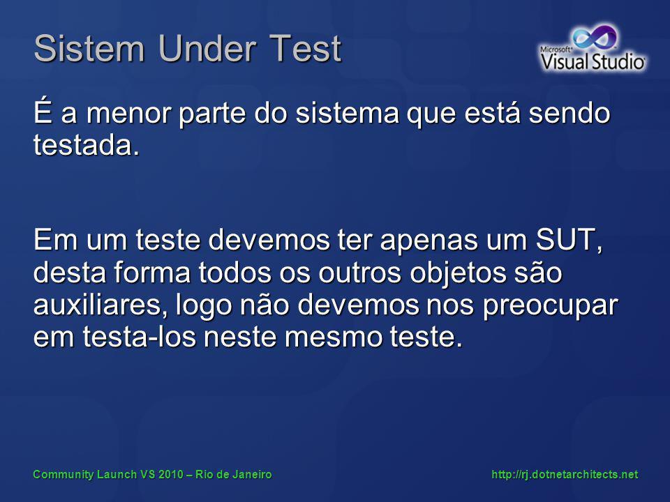 Community Launch VS 2010 – Rio de Janeiro http://rj.dotnetarchitects.net Sistem Under Test É a menor parte do sistema que está sendo testada.