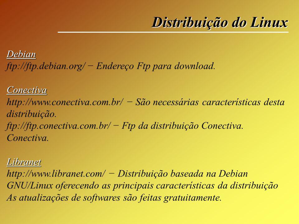 Distribuição do Linux Debian ftp://ftp.debian.org/ Endereço Ftp para download.Conectiva http://www.conectiva.com.br/ São necessárias características d