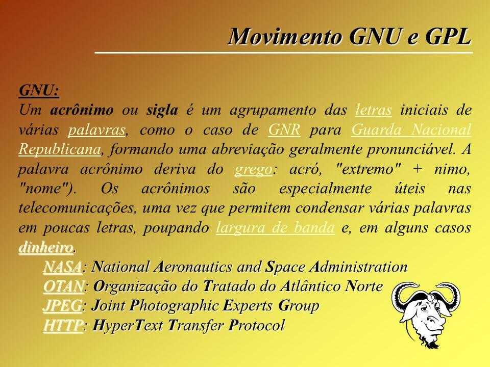 Movimento GNU e GPL GNU: dinheirodinheiro. Um acrônimo ou sigla é um agrupamento das letras iniciais de várias palavras, como o caso de GNR para Guard
