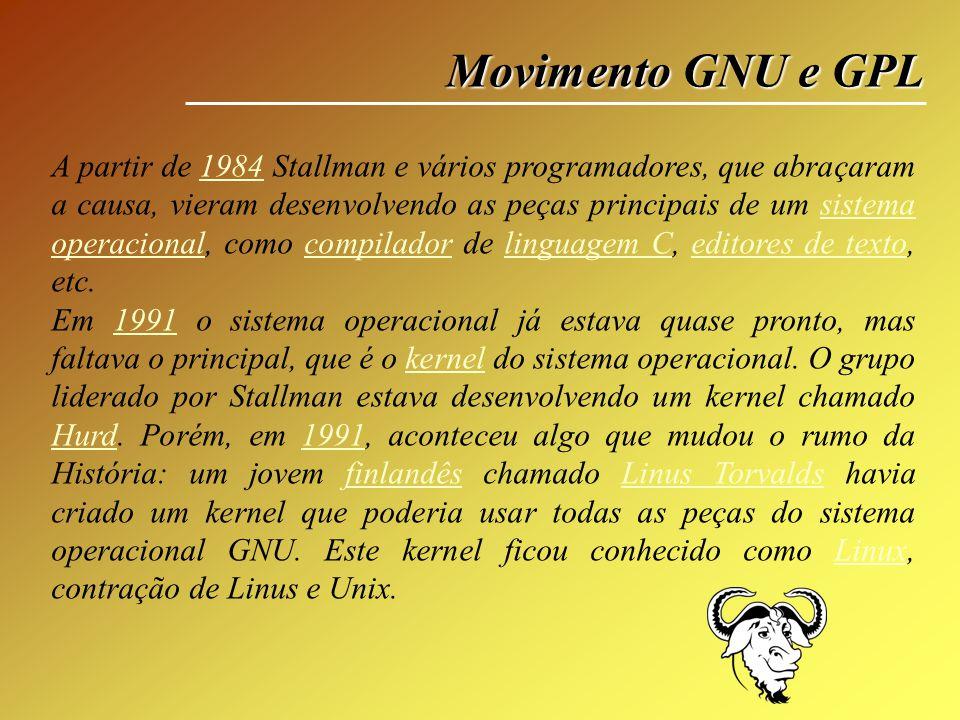 Movimento GNU e GPL A partir de 1984 Stallman e vários programadores, que abraçaram a causa, vieram desenvolvendo as peças principais de um sistema op