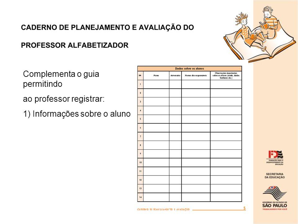 Complementa o guia permitindo ao professor registrar: 1) Informações sobre o aluno