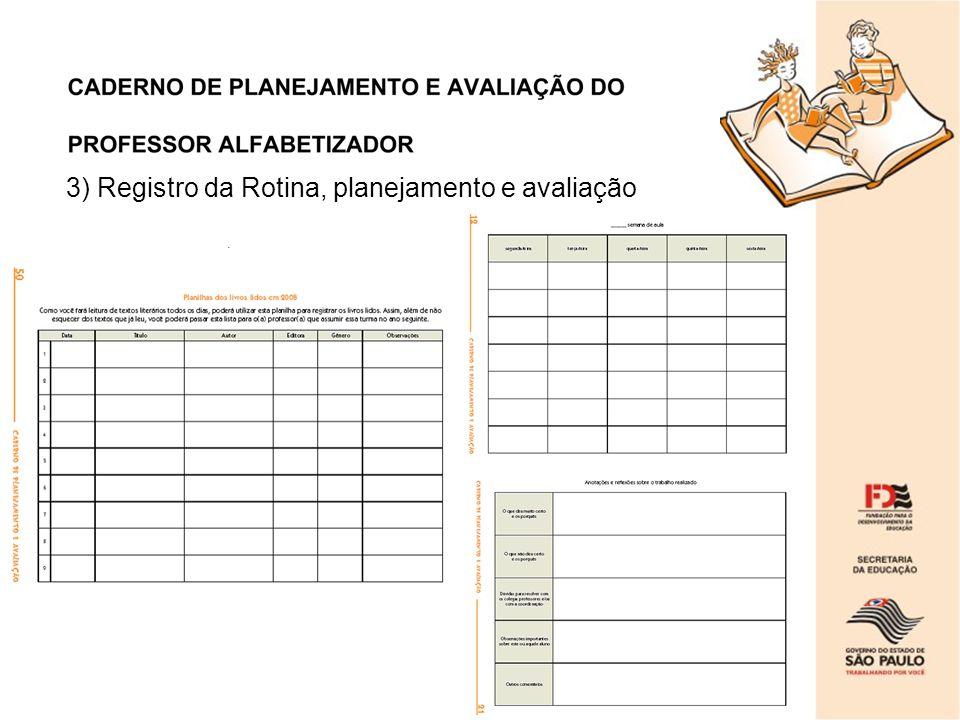 3) Registro da Rotina, planejamento e avaliação