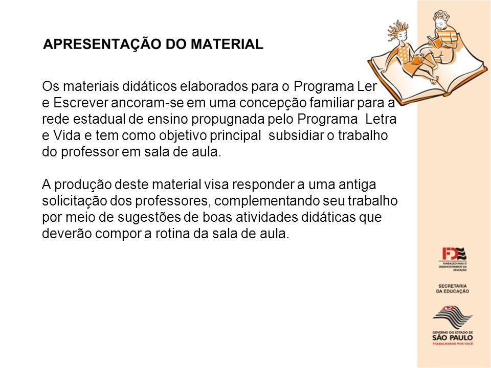 Os materiais didáticos elaborados para o Programa Ler e Escrever ancoram-se em uma concepção familiar para a rede estadual de ensino propugnada pelo P