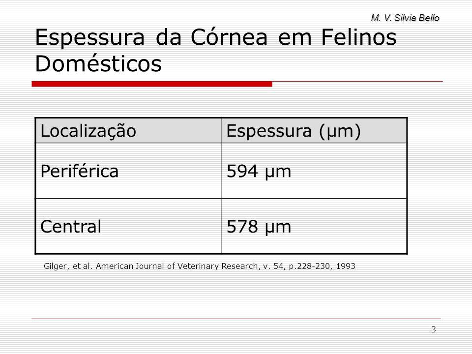M. V. Silvia Bello 3 Espessura da Córnea em Felinos Domésticos Gilger, et al. American Journal of Veterinary Research, v. 54, p.228-230, 1993 Localiza