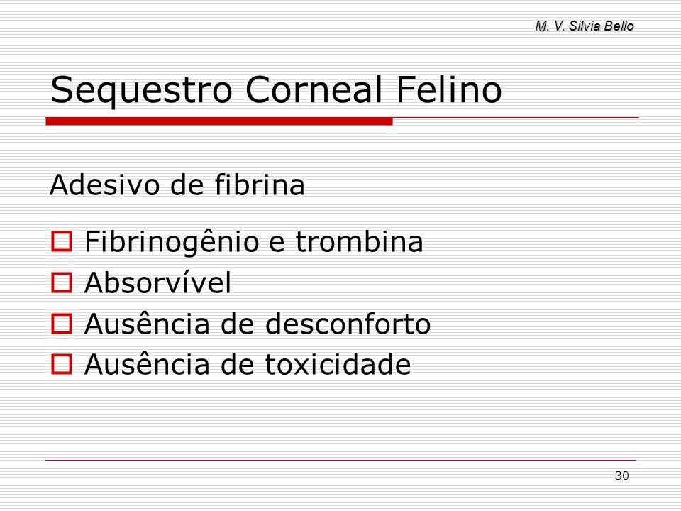 M. V. Silvia Bello 30 Sequestro Corneal Felino Adesivo de fibrina Fibrinogênio e trombina Absorvível Ausência de desconforto Ausência de toxicidade