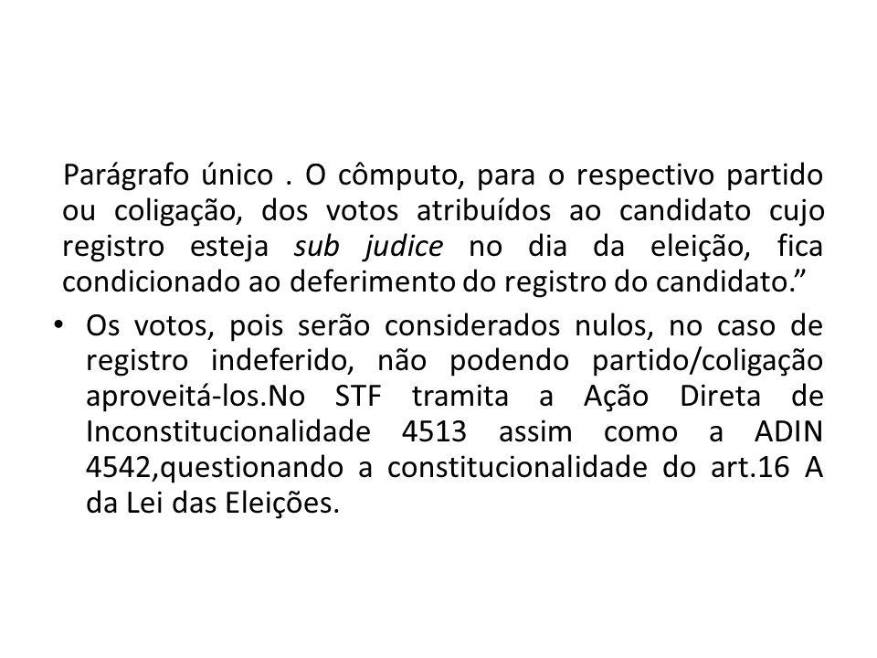 Parágrafo único. O cômputo, para o respectivo partido ou coligação, dos votos atribuídos ao candidato cujo registro esteja sub judice no dia da eleiçã