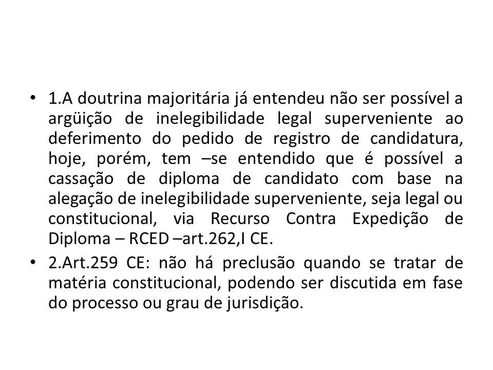 1.A doutrina majoritária já entendeu não ser possível a argüição de inelegibilidade legal superveniente ao deferimento do pedido de registro de candid