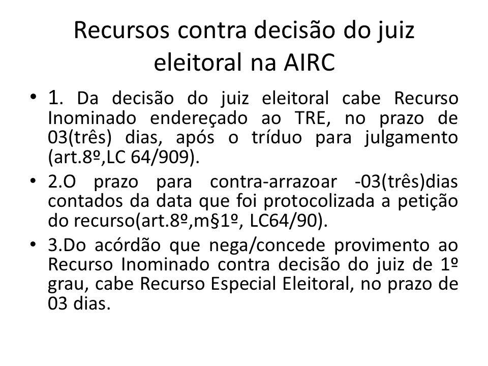 Recursos contra decisão do juiz eleitoral na AIRC 1. Da decisão do juiz eleitoral cabe Recurso Inominado endereçado ao TRE, no prazo de 03(três) dias,