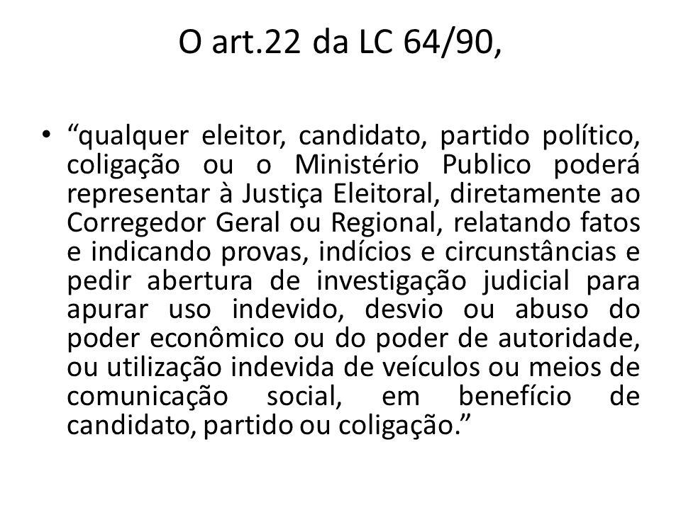 O art.22 da LC 64/90, qualquer eleitor, candidato, partido político, coligação ou o Ministério Publico poderá representar à Justiça Eleitoral, diretam