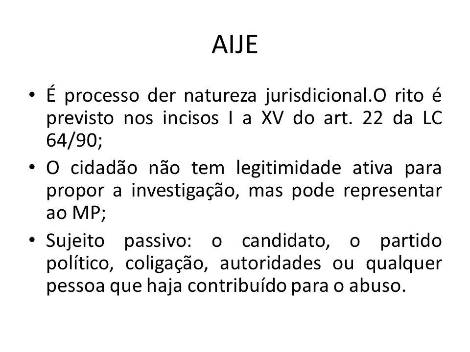 AIJE É processo der natureza jurisdicional.O rito é previsto nos incisos I a XV do art. 22 da LC 64/90; O cidadão não tem legitimidade ativa para prop