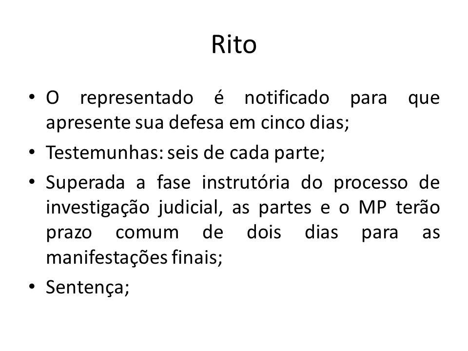 Rito O representado é notificado para que apresente sua defesa em cinco dias; Testemunhas: seis de cada parte; Superada a fase instrutória do processo