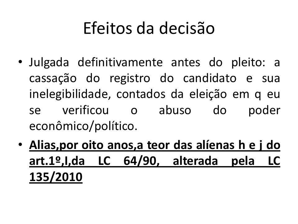 Efeitos da decisão Julgada definitivamente antes do pleito: a cassação do registro do candidato e sua inelegibilidade, contados da eleição em q eu se