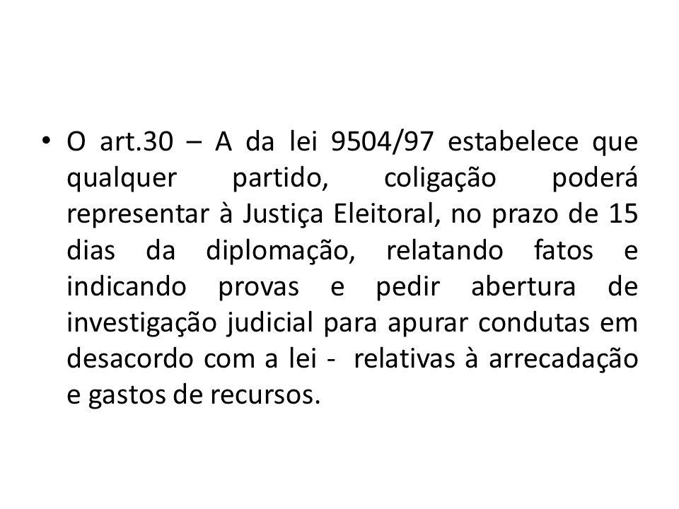 O art.30 – A da lei 9504/97 estabelece que qualquer partido, coligação poderá representar à Justiça Eleitoral, no prazo de 15 dias da diplomação, rela
