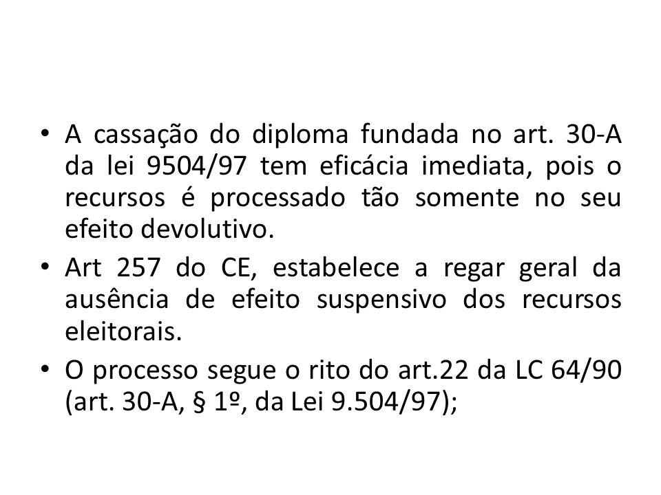 A cassação do diploma fundada no art. 30-A da lei 9504/97 tem eficácia imediata, pois o recursos é processado tão somente no seu efeito devolutivo. Ar