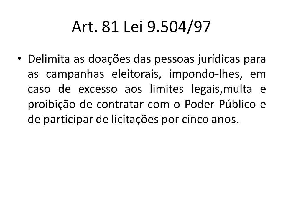 Art. 81 Lei 9.504/97 Delimita as doações das pessoas jurídicas para as campanhas eleitorais, impondo-lhes, em caso de excesso aos limites legais,multa