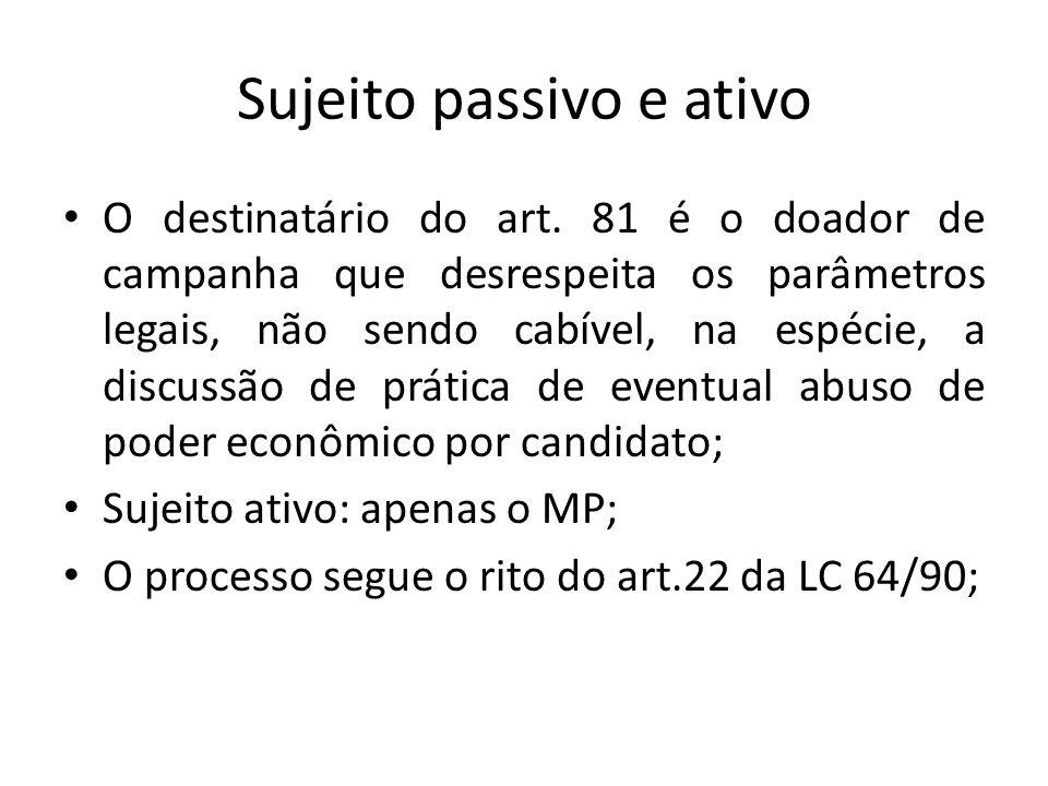 Sujeito passivo e ativo O destinatário do art. 81 é o doador de campanha que desrespeita os parâmetros legais, não sendo cabível, na espécie, a discus