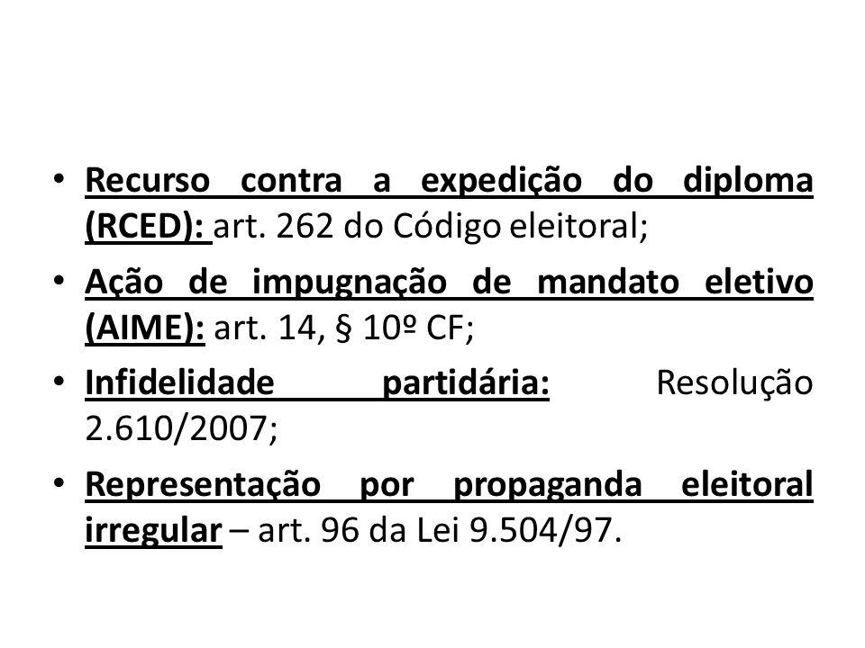 Recurso contra a expedição do diploma (RCED): art. 262 do Código eleitoral; Ação de impugnação de mandato eletivo (AIME): art. 14, § 10º CF; Infidelid