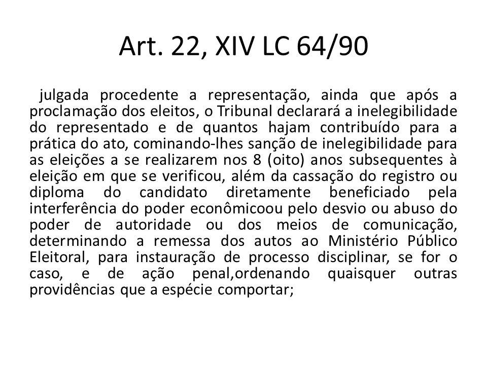 Art. 22, XIV LC 64/90 julgada procedente a representação, ainda que após a proclamação dos eleitos, o Tribunal declarará a inelegibilidade do represen