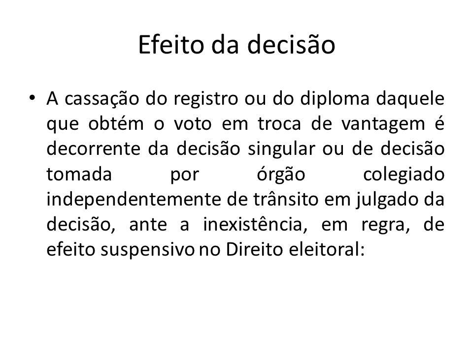 Efeito da decisão A cassação do registro ou do diploma daquele que obtém o voto em troca de vantagem é decorrente da decisão singular ou de decisão to
