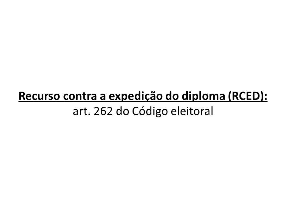 Recurso contra a expedição do diploma (RCED): art. 262 do Código eleitoral