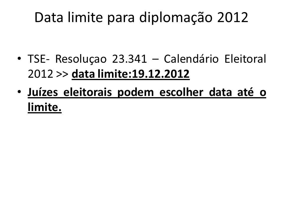 Data limite para diplomação 2012 TSE- Resoluçao 23.341 – Calendário Eleitoral 2012 >> data limite:19.12.2012 Juízes eleitorais podem escolher data até