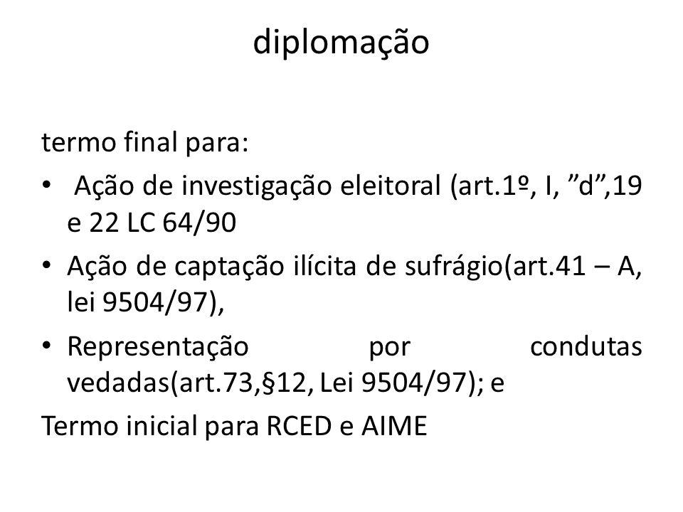 diplomação termo final para: Ação de investigação eleitoral (art.1º, I, d,19 e 22 LC 64/90 Ação de captação ilícita de sufrágio(art.41 – A, lei 9504/9