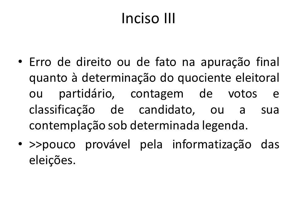 Inciso III Erro de direito ou de fato na apuração final quanto à determinação do quociente eleitoral ou partidário, contagem de votos e classificação