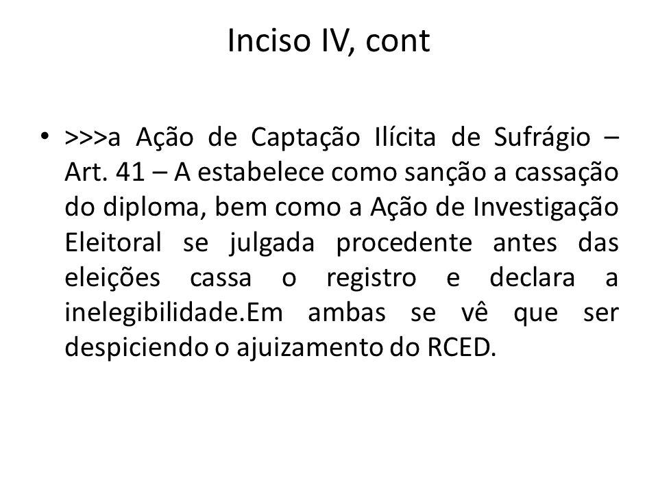 Inciso IV, cont >>>a Ação de Captação Ilícita de Sufrágio – Art. 41 – A estabelece como sanção a cassação do diploma, bem como a Ação de Investigação